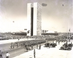 A military parade at Tres Poderes Square celebrates the inauguration of the new capital, Brasilia, on 21 April 1960.