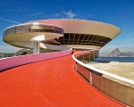 The ramp leading up to the entrance of the Museum of Contemporary Art in Niterói, near Rio de Janeiro.