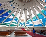 The interior of the Metropolitana Nossa Senhora Aparecida cathedral in Brasilia.