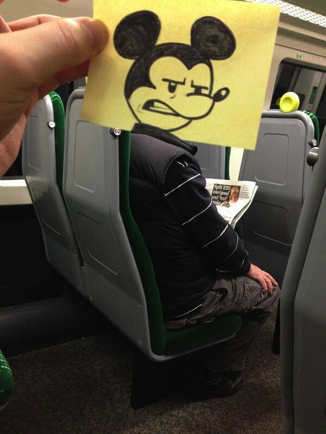 """""""Howdy. I'm on a train. This guy just caught me laughing at his squeaky voice."""""""
