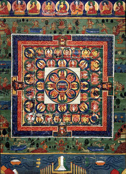 434px-Medicine_Buddha_painted_mandala_with_goddess_Prajnaparamita_in_center,_19th_century,_Rubin