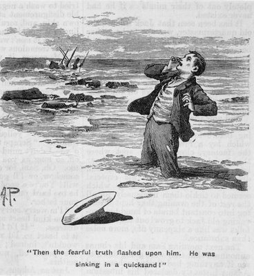Illustration from 1901 of young man sinking in quicksand as his ship sinks after hitting rocks in distance.